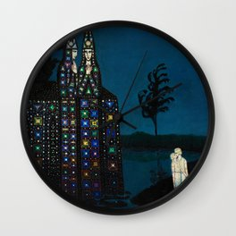 'Confirmation of Love,' Magical Realism Portrait Painting by Bolesław Biegas Wall Clock