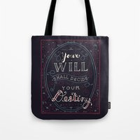 jane eyre Tote Bags featuring Destiny – Jane Eyre by Leah Doguet