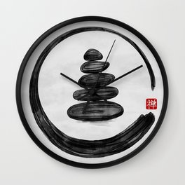Zen Enso Circle and Zen stones - Watercolor Wall Clock