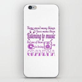 Listening To Music Grandma iPhone Skin