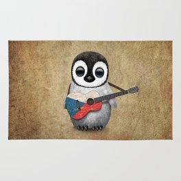 Baby Penguin Playing Czech Flag Acoustic Guitar Rug