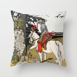 Rider By The Grave By Ivan Biblin Throw Pillow