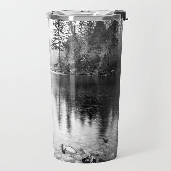 Forest Reflection Lake - Black and White  - Nature Photography Travel Mug