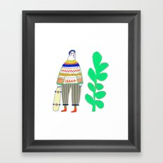 man and cactus. Framed Art Print