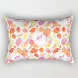 Lovely Australiana Floral Print - Kangaroos and Australian Native Florals Rectangular Pillow
