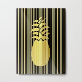 Pineapple And Stripes Metal Print