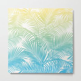 Modern teal yellow tropical palm trees pattern Metal Print