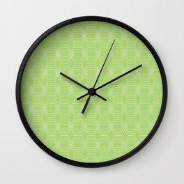 hopscotch-hex bright green Wall Clock