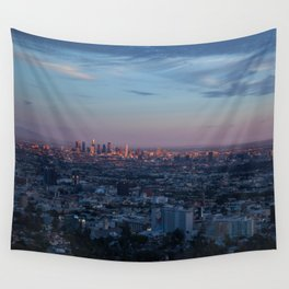 LA Skyline at Sunset Wall Tapestry