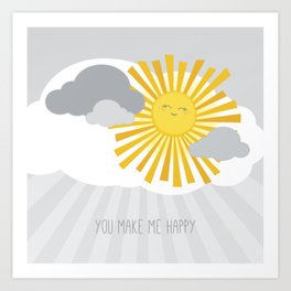 KAWAII SKY - smiling sun in grey clouds - you make me happy Art Print