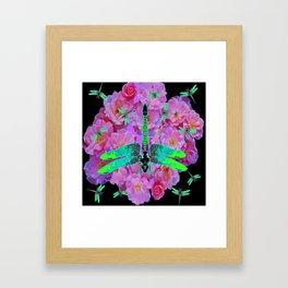 EMERALD DRAGONFLIES  PINK ROSES  BLACK COLOR Framed Art Print