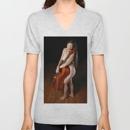 0199-JC Nude Cellist with Her Cello and Bow Naked Young Woman Musician Art Sexy Erotic Sweet Sensual Unisex V-Neck