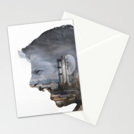 Angry shouting man face on cityscape Stationery Cards