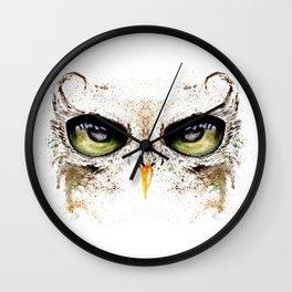 Green owl eye Wall Clock