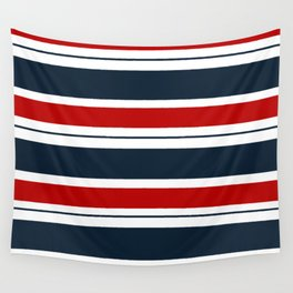 Red, White, and Blue Horizontal Striped Wall Tapestry