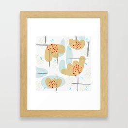 Organic Minimal Flowers and Leaves Shapes Framed Art Print