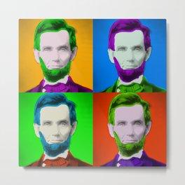 Abraham Lincoln Pop Art Print Metal Print