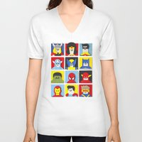 heroes V-neck T-shirts featuring Felt Heroes by Jacopo Rosati