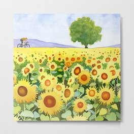 Sunflowers & bicyclist Metal Print