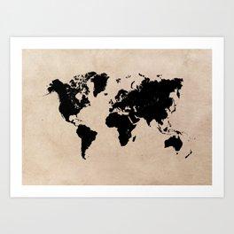 world map 94 black #worldmap #map #world Art Print