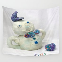 Snowman Sculpture Wall Tapestry