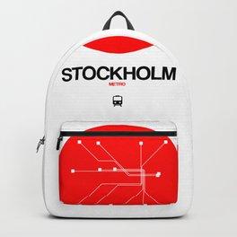 Stockholm Red Subway Map Backpack