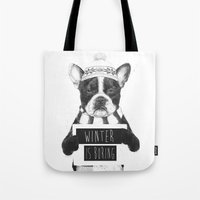 snowboarding Tote Bags featuring Winter is boring by Balazs Solti