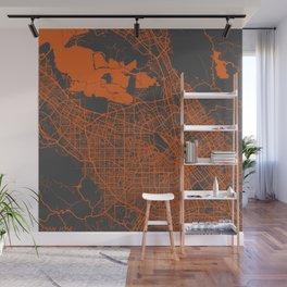 San Jose map orange Wall Mural