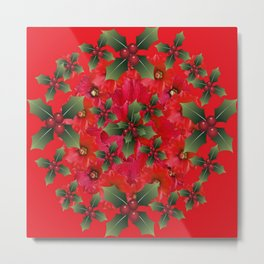 RED HOLIDAYS FLOWER & HOLLY  WREATH ART Metal Print