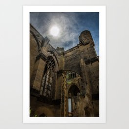 Foreshortening in the medieval town of Narbonne, southern France Art Print