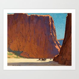 Sunset on the sandstone cliffs, Canyon de Chelly Landscape by Edgar Alwin Payne Art Print