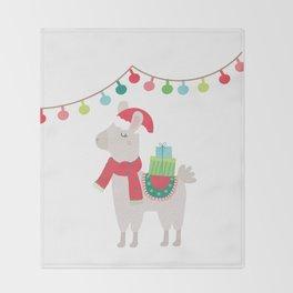 Christmas llamas V Throw Blanket