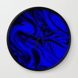 Black and Blue Swirl - Abstract, blue and black mixed paint pattern texture Wall Clock