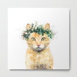 Boho Watercolor Cat, Cat Lady, Plant Lady, Funny cute Cat, home decor, nursery animal wall art Metal Print