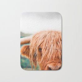 Long haired cow close up watercolor painting Bath Mat