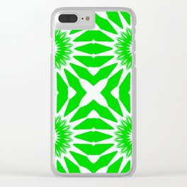 Green & White Pinwheel Flowers Clear iPhone Case