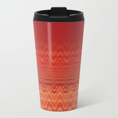 Bright Orange Ombre Chevron Wave Fade Out Metal Travel Mug