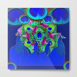 BLUE PEACOCKS & PURPLE MORNING GLORIES Metal Print