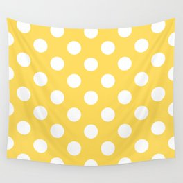 Mustard - yellow - White Polka Dots - Pois Pattern Wall Tapestry