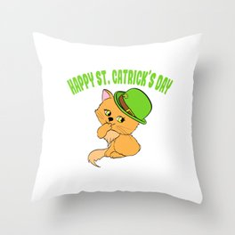 """Guys! Have This St. Patrick's Tee Saying """"Happy St. Catrick's Day"""" T-shirt Design Clover Shamrock Throw Pillow"""