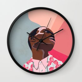 Model - spring pattern with flower motives pastel color background with marble effect Wall Clock