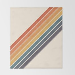 Arida -  70s Summer Style Retro Stripes Throw Blanket