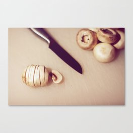 Chopping mushrooms Canvas Print