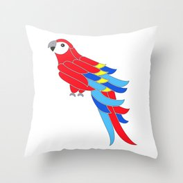 Whimsy scarlet macaw Throw Pillow
