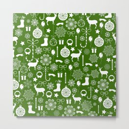 Green and white Christmas elements pattern Metal Print