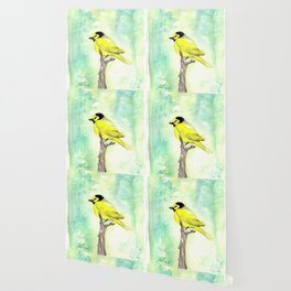 Hooded warbler in watercolor Wallpaper