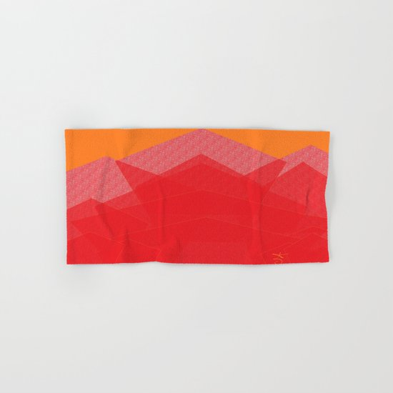 Colorful Red Abstract Mountain Hand & Bath Towel