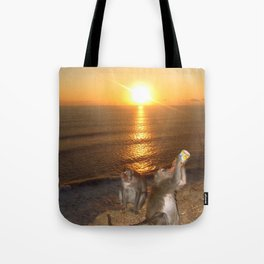 Monkey Drinking in the Sunset Tote Bag