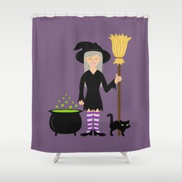 Cute Witch Girl And A Black Cat Halloween Design Shower Curtain