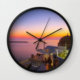 Sunset in Oia,Santorini Wall Clock
